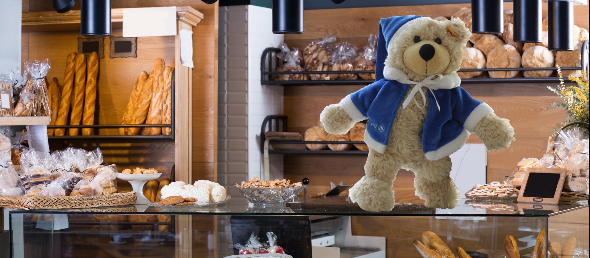Teddy in der Bäckerei