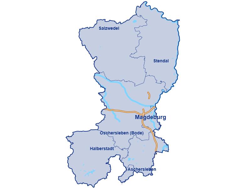 Gebiet der Allianz Geschäftsstelle Magdeburg