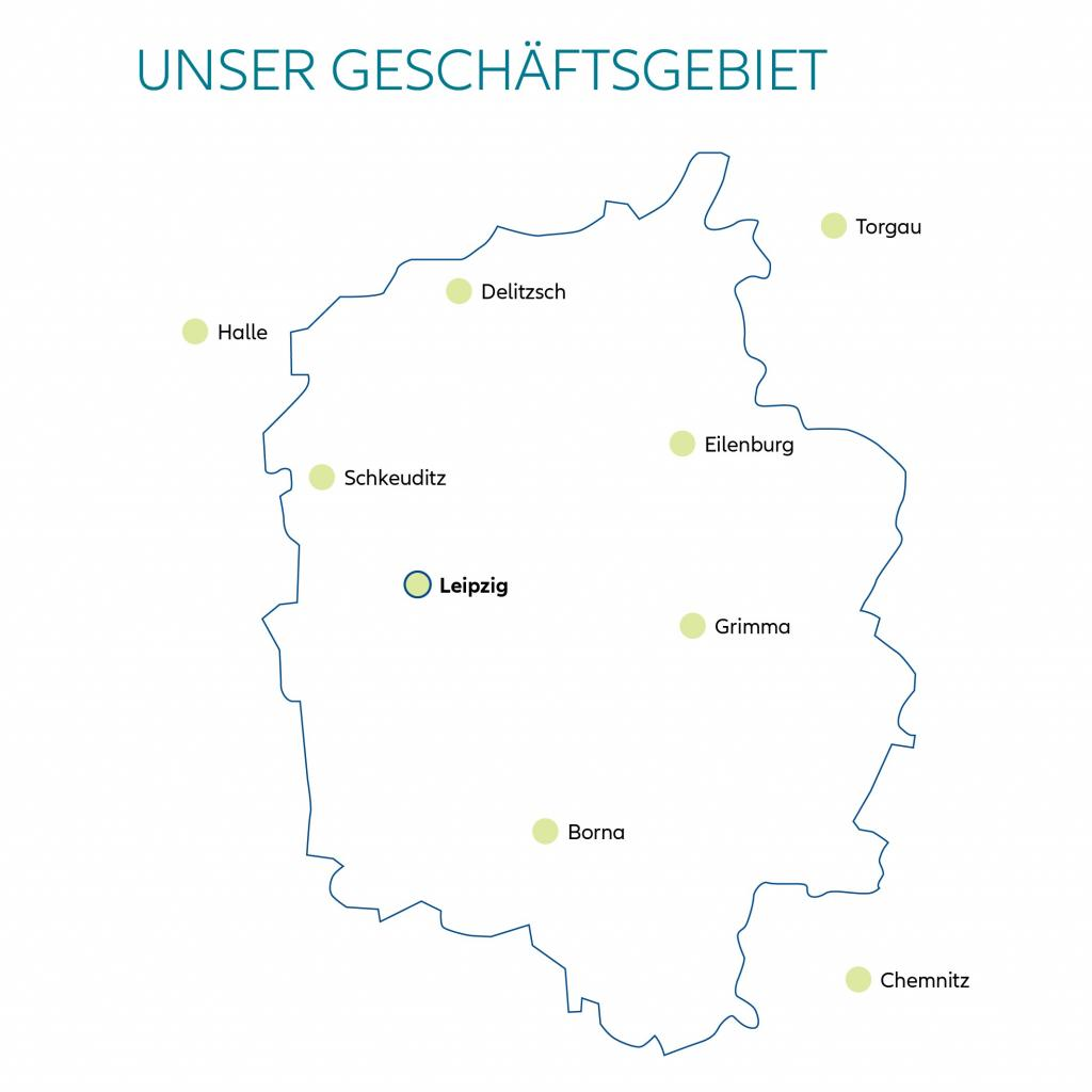 Allianz, Geschäftsstelle Leipzig, Geschäftsgebiet